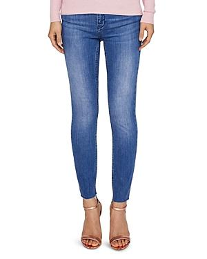 Ted Baker Aaciee Raw-hem Skinny Jeans In Mid Wash