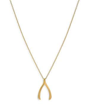 Zoe Lev 14k Yellow Gold Wishbone Pendant Necklace, 18