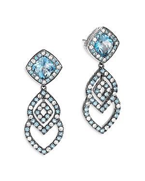John Hardy Sterling Silver Classic Chain Cahaya London Blue Topaz & Gray Diamond Drop Earrings