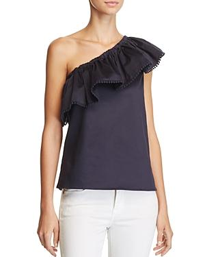 Aqua Ruffle One Shoulder Top