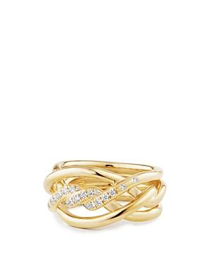 David Yurman Continuance Ring With Diamonds In 18k Gold, 11.5mm