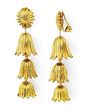 Oscar De La Renta Tiered Flower Clip-on Drop Earrings
