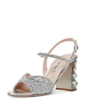 Miu Miu Women's Glitter Crystal-embellished Block Heel Sandals