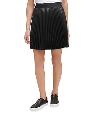 Dkny Faux Leather Pleated Mini Skirt