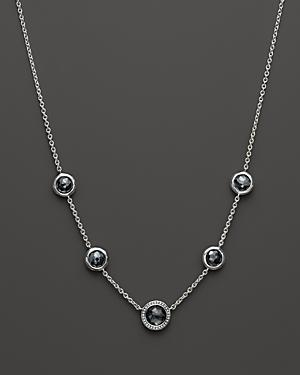 Ippolita Sterling Silver Stella Necklace In Hematite With Diamonds, 16