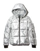 Aqua Metallic Hooded Puffer Jacket - 100% Exclusive