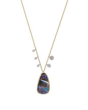 Meira T 14k Yellow Gold Opal & Diamond Pendant Necklace, 18