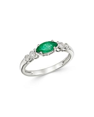 Bloomingdale's Emerald & Diamond Ring In 14k White Gold - 100% Exclusive