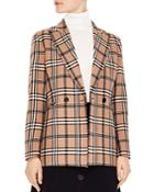 Sandro Sirene Double-breasted Plaid Blazer