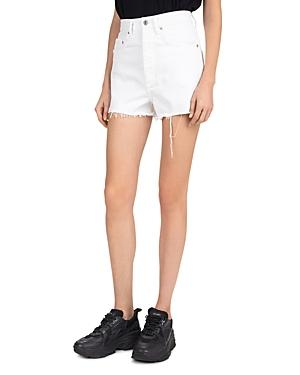 The Kooples Western Belted Frayed Jean Shorts In White