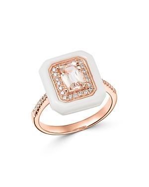 Bloomingdale's Morganite, White Agate & Diamond Ring In 14k Rose Gold - 100% Exclusive