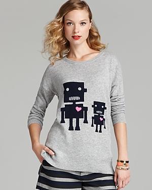 Aqua Cashmere Sweater - Heart Robots Drop Shoulder