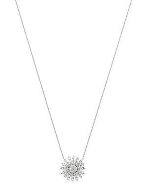 Roberto Coin 18k White Gold Diamond Sunburst Pendant Necklace, 18