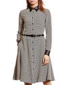 Lauren Ralph Lauren Houndstooth Print Silk Dress