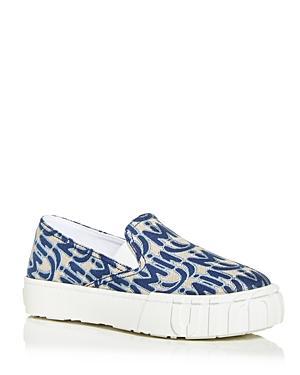 Miu Miu Women's Jacquard Slip On Platform Sneakers