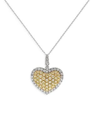 Bloomingdale's Yellow & White Diamond Heart Pendant Necklace In 14k White & Yellow Gold, X - 100% Exclusive