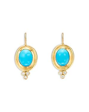 Temple St. Clair 18k Yellow Gold Turquoise & Diamond Drop Earrings