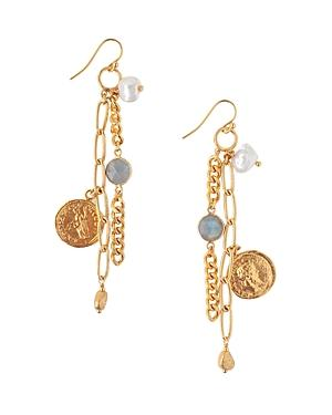 Chan Luu Cultured Freshwater Keshi Pearl & Chain Drop Earrings