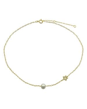 Aqua Pave Star & Cultured Freshwater Pearl Collar Necklace, 15.5-17.5 - 100% Exclusive