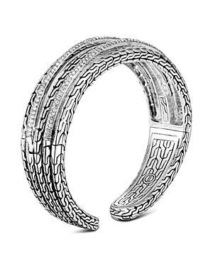 John Hardy Sterling Silver Classic Chain Pave Diamond Medium Kick Cuff - 100% Exclusive
