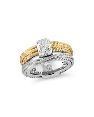 Alor Classique Pave Diamond-encrusted Cable Ring