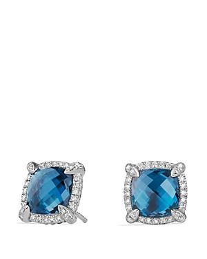 David Yurman Chatelaine Pave Bezel Stud Earrings With Hampton Blue Topaz And Diamonds