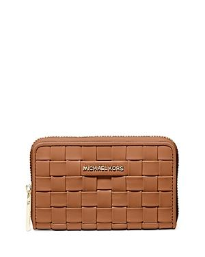 Michael Michael Kors Jet Set Small Woven Leather Card Case