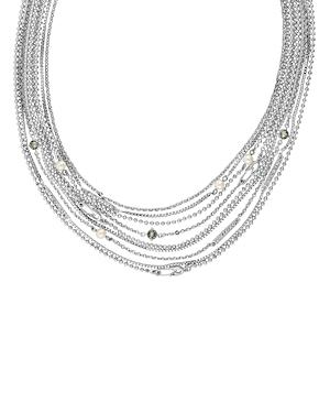 Karl Lagerfeld Paris Safety Pin & Pearl Multi Strand Necklace, 18