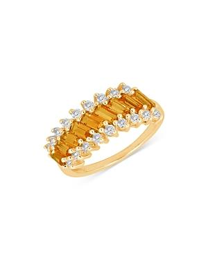 Bloomingdale's Citrine & Diamond Band In 14k Yellow Gold - 100% Exclusive