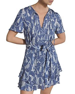 Reiss Charlie Tassel Print Mini Dress