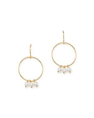 Bloomingdale's Cultured Freshwater Pearl Charm Circle Drop Earrings In 14k Yellow Gold - 100% Exclusive