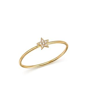 Zoe Chicco 14k Yellow Gold Itty Bitty Diamond Star Ring