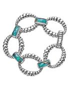 Lagos Sterling Silver Maya Escape Chrysocolla Doublet Fluted Oval Link Bracelet