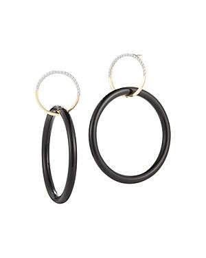 Mateo 14k Yellow Gold Small Half Moon & Onyx Connecting Drop Earrings