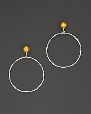 Gurhan 24k Yellow Gold And 18k White Gold Hoop Earrings With Pave Diamonds