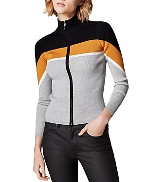 Karen Millen Color-block Rib-knit Cardigan