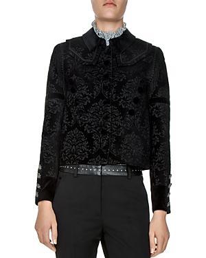 The Kooples Floral-jacquard-pattern Velvet Blazer