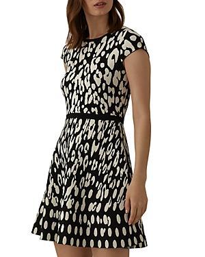 Karen Millen Leopard Jacquard Fit-and-flare Dress