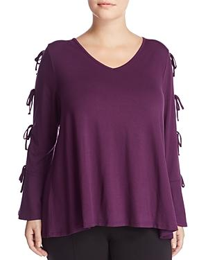 Cupio Plus Tie Split Sleeve Top