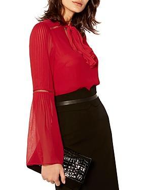 Karen Millen Pleated Tie-neck Bell-sleeve Top