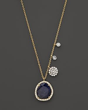 Meira T 14k Yellow Gold Blue Sapphire Necklace With Diamonds, .25 Ct. T.w.