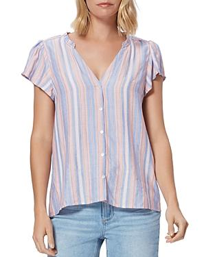 Paige Remy Striped Flutter-sleeve Blouse