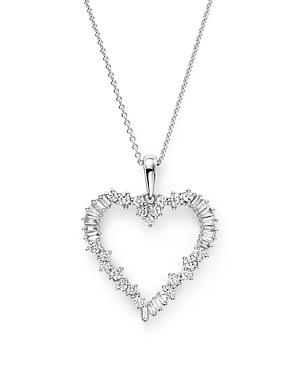 Diamond Round And Baguette Heart Pendant Necklace In 14k White Gold, .75 Ct. T.w.
