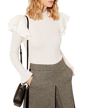 Karen Millen Ruffled Ribbed Sweater