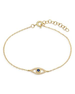 Zoe Lev 14k Yellow Gold Diamond & Blue Sapphire Evil Eye Bracelet