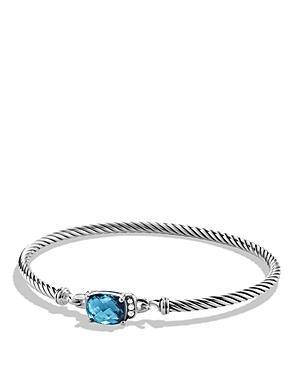 David Yurman Petite Wheaton Bracelet With Hampton Blue Topaz And Diamonds