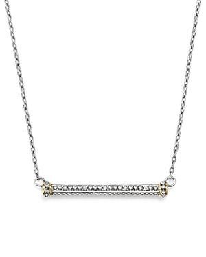 Judith Ripka 18k Yellow Gold And Sterling Silver East-west Bar Pendant Necklace With Diamonds, 17