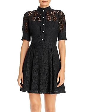 Aqua Rhinestone-button Lace Dress - 100% Exclusive