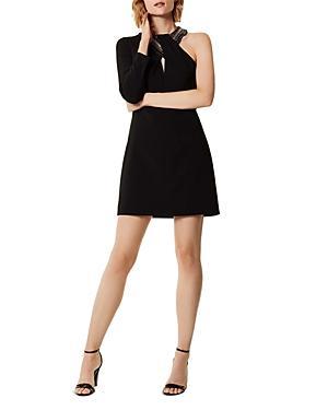 Karen Millen One-sleeve Chain-trim Dress
