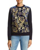 Tory Burch Hollis Floral Mixed Media Sweater